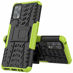 Silikon Hülle Handyhülle und Kunststoff Schutzhülle Hartschalen Tasche mit Ständer A01 für Realme 7 Pro Grün