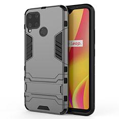 Silikon Hülle Handyhülle und Kunststoff Schutzhülle Hartschalen Tasche mit Ständer A01 für Realme C15 Grau