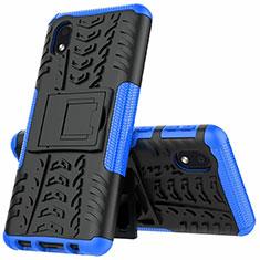 Silikon Hülle Handyhülle und Kunststoff Schutzhülle Hartschalen Tasche mit Ständer A01 für Samsung Galaxy A01 Core Blau