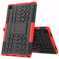 Silikon Hülle Handyhülle und Kunststoff Schutzhülle Hartschalen Tasche mit Ständer A01 für Samsung Galaxy Tab A7 Wi-Fi 10.4 SM-T500 Rot