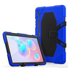 Silikon Hülle Handyhülle und Kunststoff Schutzhülle Hartschalen Tasche mit Ständer A01 für Samsung Galaxy Tab S6 10.5 SM-T860 Blau