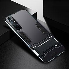 Silikon Hülle Handyhülle und Kunststoff Schutzhülle Hartschalen Tasche mit Ständer A01 für Xiaomi Mi 10 Ultra Schwarz