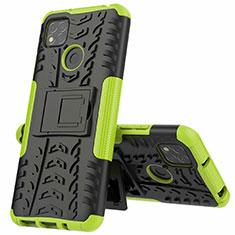 Silikon Hülle Handyhülle und Kunststoff Schutzhülle Hartschalen Tasche mit Ständer A01 für Xiaomi Redmi 9C Grün