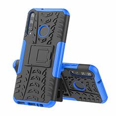 Silikon Hülle Handyhülle und Kunststoff Schutzhülle Hartschalen Tasche mit Ständer A02 für Huawei Y7p Blau