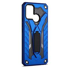 Silikon Hülle Handyhülle und Kunststoff Schutzhülle Hartschalen Tasche mit Ständer A02 für Realme 7i Blau