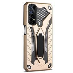Silikon Hülle Handyhülle und Kunststoff Schutzhülle Hartschalen Tasche mit Ständer A02 für Realme Narzo 20 Pro Gold