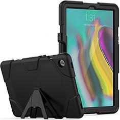 Silikon Hülle Handyhülle und Kunststoff Schutzhülle Hartschalen Tasche mit Ständer A02 für Samsung Galaxy Tab S5e 4G 10.5 SM-T725 Schwarz