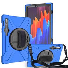 Silikon Hülle Handyhülle und Kunststoff Schutzhülle Hartschalen Tasche mit Ständer A02 für Samsung Galaxy Tab S7 4G 11 SM-T875 Blau
