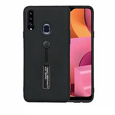 Silikon Hülle Handyhülle und Kunststoff Schutzhülle Hartschalen Tasche mit Ständer A03 für Samsung Galaxy A20s Schwarz