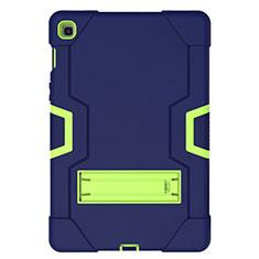 Silikon Hülle Handyhülle und Kunststoff Schutzhülle Hartschalen Tasche mit Ständer A03 für Samsung Galaxy Tab S5e 4G 10.5 SM-T725 Blau
