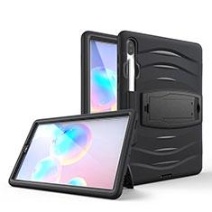 Silikon Hülle Handyhülle und Kunststoff Schutzhülle Hartschalen Tasche mit Ständer A03 für Samsung Galaxy Tab S6 10.5 SM-T860 Schwarz