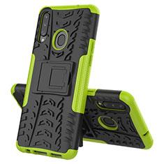 Silikon Hülle Handyhülle und Kunststoff Schutzhülle Hartschalen Tasche mit Ständer A04 für Samsung Galaxy A20s Grün
