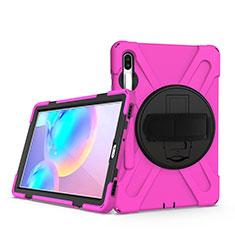 Silikon Hülle Handyhülle und Kunststoff Schutzhülle Hartschalen Tasche mit Ständer A04 für Samsung Galaxy Tab S6 10.5 SM-T860 Pink