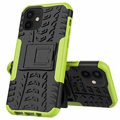 Silikon Hülle Handyhülle und Kunststoff Schutzhülle Hartschalen Tasche mit Ständer für Apple iPhone 12 Grün