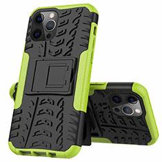 Silikon Hülle Handyhülle und Kunststoff Schutzhülle Hartschalen Tasche mit Ständer für Apple iPhone 12 Pro Grün