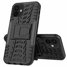 Silikon Hülle Handyhülle und Kunststoff Schutzhülle Hartschalen Tasche mit Ständer für Apple iPhone 12 Schwarz