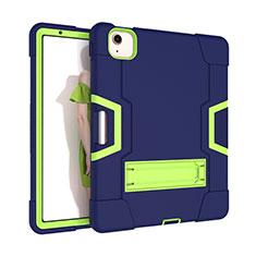 Silikon Hülle Handyhülle und Kunststoff Schutzhülle Hartschalen Tasche mit Ständer für Apple New iPad Air 10.9 (2020) Grün