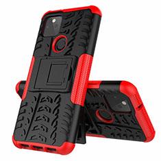 Silikon Hülle Handyhülle und Kunststoff Schutzhülle Hartschalen Tasche mit Ständer für Google Pixel 5 Rot