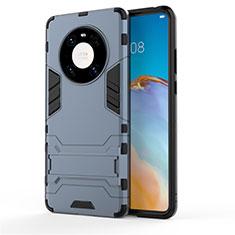 Silikon Hülle Handyhülle und Kunststoff Schutzhülle Hartschalen Tasche mit Ständer für Huawei Mate 40 Pro Blau