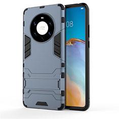 Silikon Hülle Handyhülle und Kunststoff Schutzhülle Hartschalen Tasche mit Ständer für Huawei Mate 40 Pro+ Plus Blau