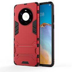 Silikon Hülle Handyhülle und Kunststoff Schutzhülle Hartschalen Tasche mit Ständer für Huawei Mate 40 Pro+ Plus Rot