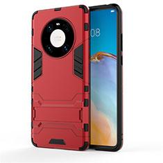 Silikon Hülle Handyhülle und Kunststoff Schutzhülle Hartschalen Tasche mit Ständer für Huawei Mate 40 Rot