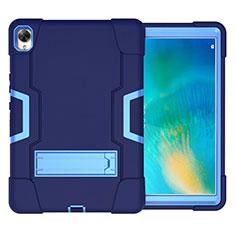 Silikon Hülle Handyhülle und Kunststoff Schutzhülle Hartschalen Tasche mit Ständer für Huawei MatePad 10.8 Blau