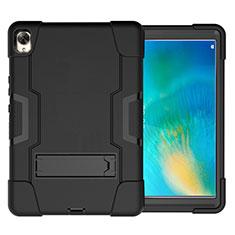 Silikon Hülle Handyhülle und Kunststoff Schutzhülle Hartschalen Tasche mit Ständer für Huawei MatePad 10.8 Schwarz