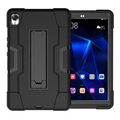 Silikon Hülle Handyhülle und Kunststoff Schutzhülle Hartschalen Tasche mit Ständer für Huawei MediaPad M6 8.4 Schwarz