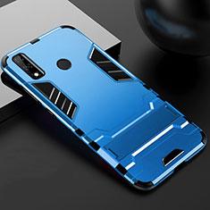Silikon Hülle Handyhülle und Kunststoff Schutzhülle Hartschalen Tasche mit Ständer für Huawei Y8s Blau