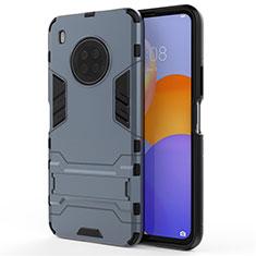 Silikon Hülle Handyhülle und Kunststoff Schutzhülle Hartschalen Tasche mit Ständer für Huawei Y9a Blau