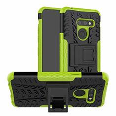 Silikon Hülle Handyhülle und Kunststoff Schutzhülle Hartschalen Tasche mit Ständer für LG G8 ThinQ Grün