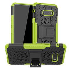 Silikon Hülle Handyhülle und Kunststoff Schutzhülle Hartschalen Tasche mit Ständer für LG G8X ThinQ Grün