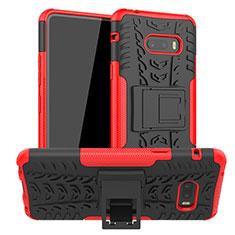 Silikon Hülle Handyhülle und Kunststoff Schutzhülle Hartschalen Tasche mit Ständer für LG G8X ThinQ Rot