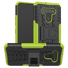 Silikon Hülle Handyhülle und Kunststoff Schutzhülle Hartschalen Tasche mit Ständer für LG K51 Grün