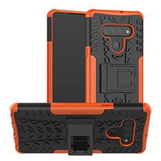 Silikon Hülle Handyhülle und Kunststoff Schutzhülle Hartschalen Tasche mit Ständer für LG Stylo 6 Orange