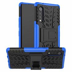 Silikon Hülle Handyhülle und Kunststoff Schutzhülle Hartschalen Tasche mit Ständer für LG Velvet 4G Blau