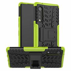 Silikon Hülle Handyhülle und Kunststoff Schutzhülle Hartschalen Tasche mit Ständer für LG Velvet 4G Grün