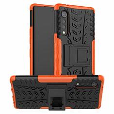 Silikon Hülle Handyhülle und Kunststoff Schutzhülle Hartschalen Tasche mit Ständer für LG Velvet 4G Orange