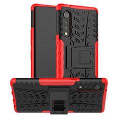 Silikon Hülle Handyhülle und Kunststoff Schutzhülle Hartschalen Tasche mit Ständer für LG Velvet 4G Rot