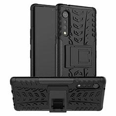 Silikon Hülle Handyhülle und Kunststoff Schutzhülle Hartschalen Tasche mit Ständer für LG Velvet 4G Schwarz