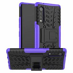 Silikon Hülle Handyhülle und Kunststoff Schutzhülle Hartschalen Tasche mit Ständer für LG Velvet 4G Violett