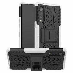 Silikon Hülle Handyhülle und Kunststoff Schutzhülle Hartschalen Tasche mit Ständer für LG Velvet 4G Weiß