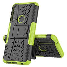 Silikon Hülle Handyhülle und Kunststoff Schutzhülle Hartschalen Tasche mit Ständer für Motorola Moto G Power Grün
