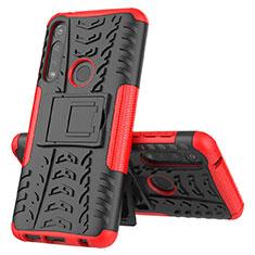 Silikon Hülle Handyhülle und Kunststoff Schutzhülle Hartschalen Tasche mit Ständer für Motorola Moto G Power Rot