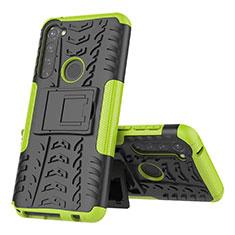 Silikon Hülle Handyhülle und Kunststoff Schutzhülle Hartschalen Tasche mit Ständer für Motorola Moto G Stylus Grün