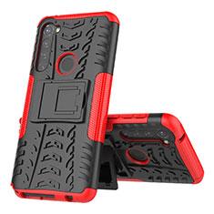 Silikon Hülle Handyhülle und Kunststoff Schutzhülle Hartschalen Tasche mit Ständer für Motorola Moto G Stylus Rot