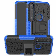 Silikon Hülle Handyhülle und Kunststoff Schutzhülle Hartschalen Tasche mit Ständer für Motorola Moto G8 Plus Blau