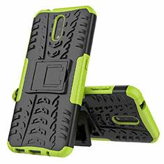 Silikon Hülle Handyhülle und Kunststoff Schutzhülle Hartschalen Tasche mit Ständer für Nokia 2.3 Grün