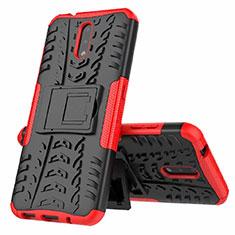 Silikon Hülle Handyhülle und Kunststoff Schutzhülle Hartschalen Tasche mit Ständer für Nokia 2.3 Rot